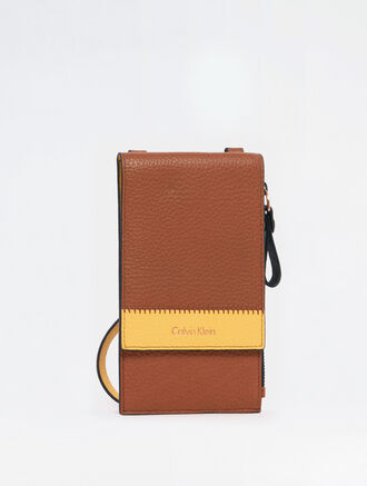 CALVIN KLEIN BICOLOR SOFT NORTH SOUTH WALLET WITH DETACHABLE STRAP