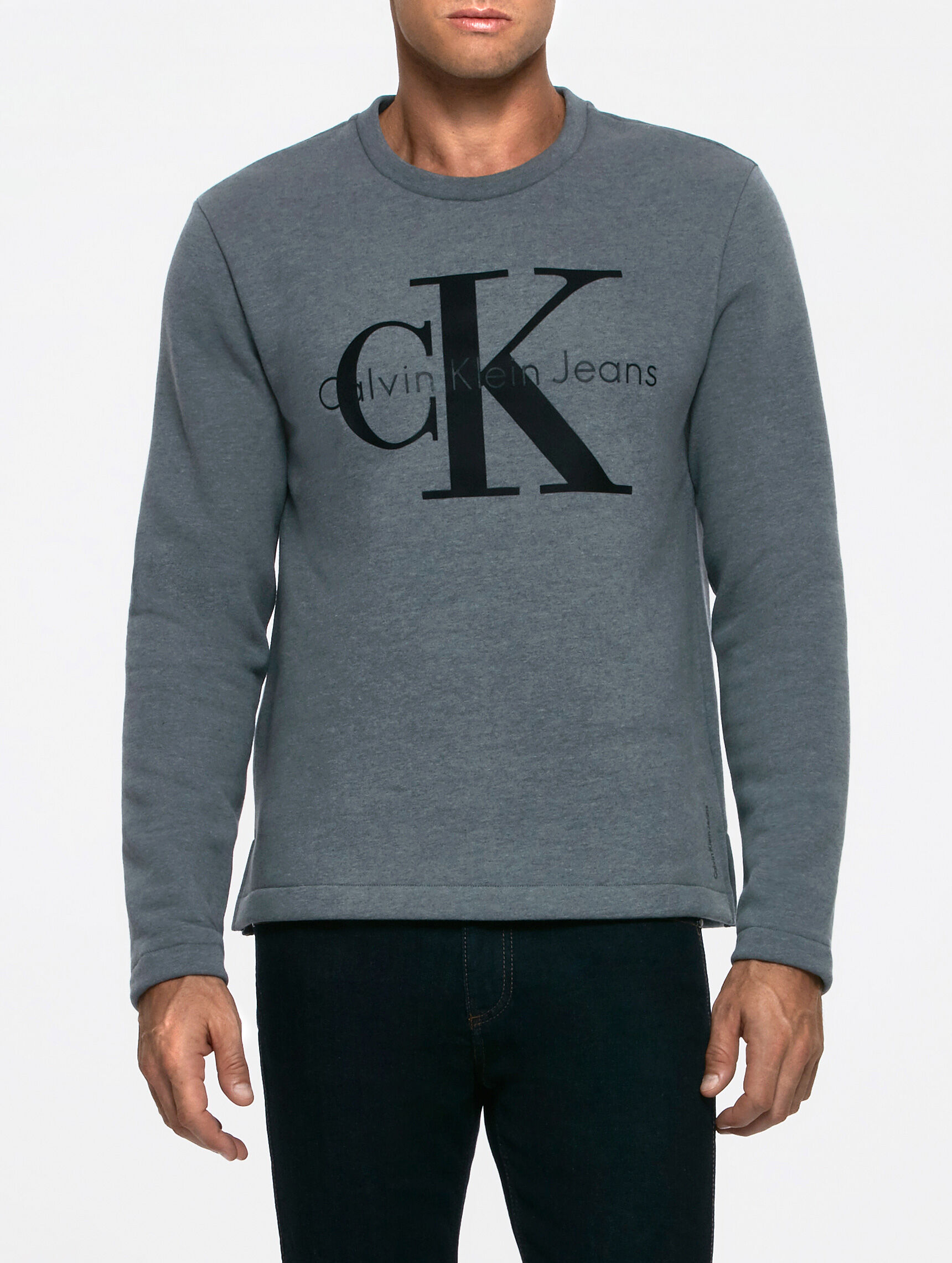 Calvin Klein Gray Hasto Small Logo Crew Sweat for men