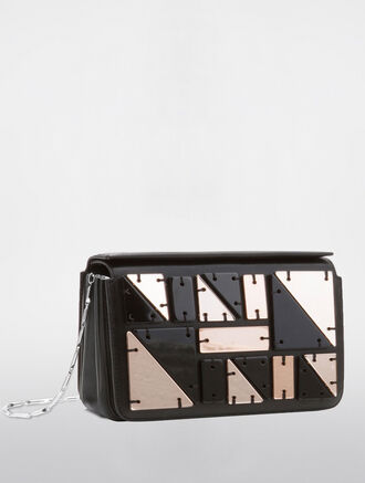 CALVIN KLEIN FLARED SMALL BOX CLUTCH WITH CHAIN