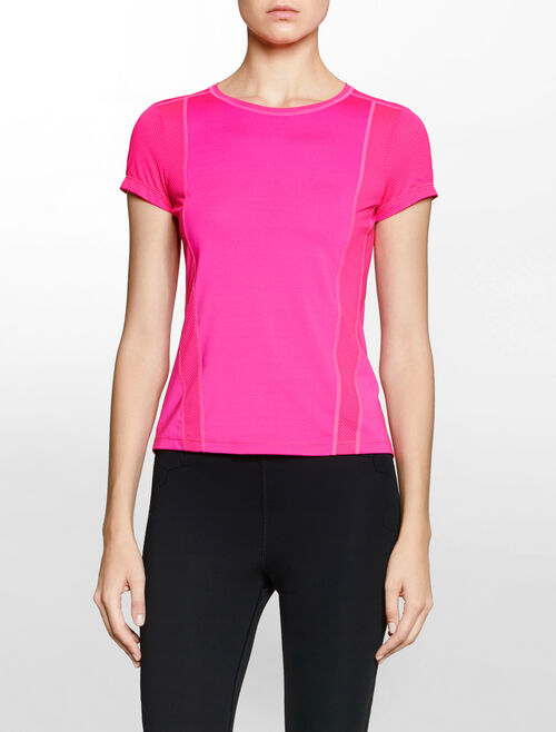 CALVIN KLEIN MODERN NEON FABRIC MIX WORK OUT TEE