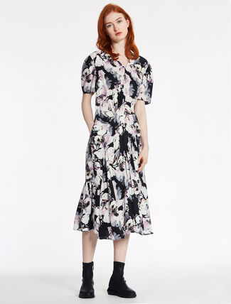 CALVIN KLEIN FLORAL PRINTED SATIN DRESS