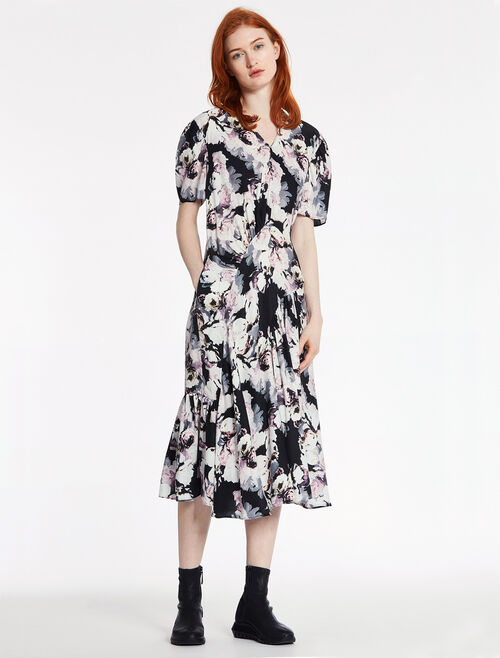 CALVIN KLEIN FLORAL PRINTED SATIN DRESS