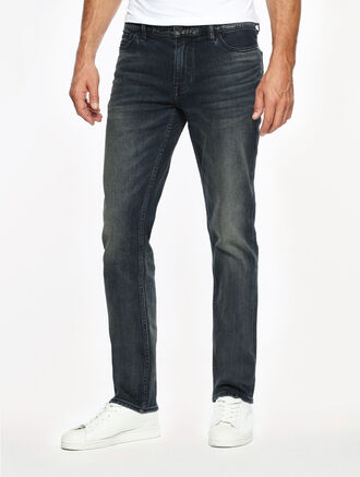 CALVIN KLEIN AMPLIFIED INDIGO WHISTLES BLUE WASH SLIM STRAIGHT FIT JEANS