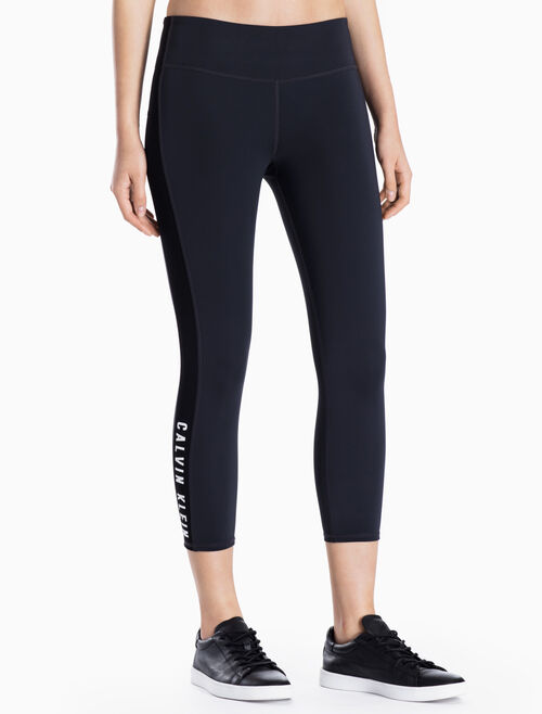 CALVIN KLEIN CROPPED LEGGINGS WITH SIDE STRIPES