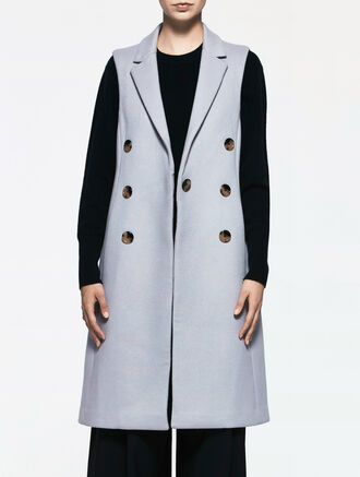 CALVIN KLEIN WOOL DOUBLE BREASTED SLEEVELESS COAT