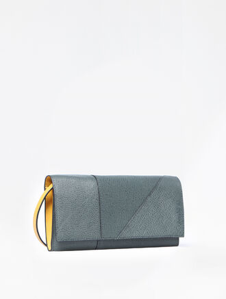 CALVIN KLEIN MIXED TEXTURE LONG FOLD WALLET WITH DEATCHABLE STRAP