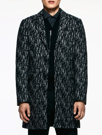CALVIN KLEIN FELTED WOOL JACQUARD TAILORED COAT