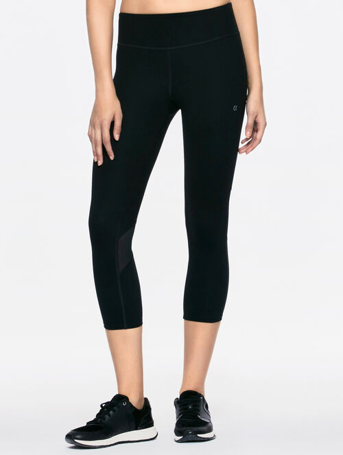 CALVIN KLEIN CROPPED MID RISE LEGGING WITH MESH