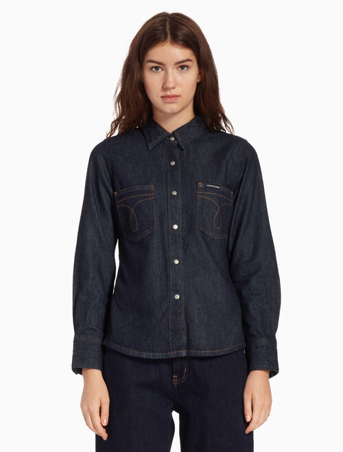 CALVIN KLEIN OMEGA STITCH DENIM SHIRT