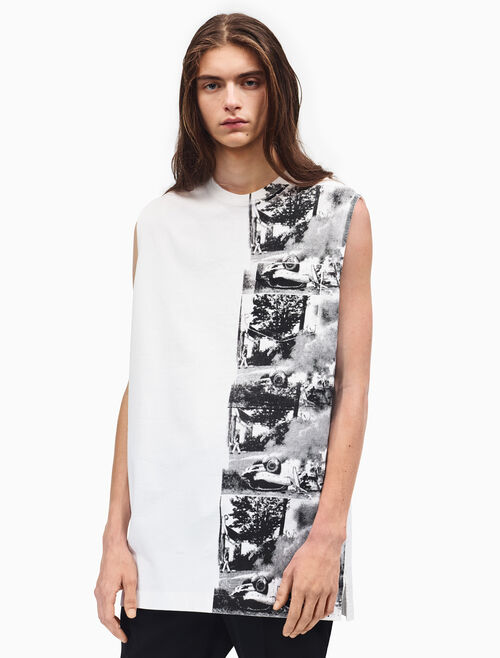 CALVIN KLEIN oversized burning car sleeveless t-shirt