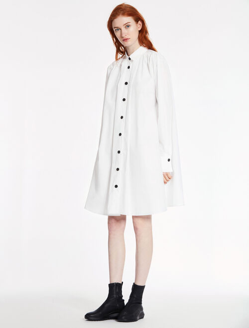 CALVIN KLEIN SOFT DENSE POPLIN LONG SLEEVES DRESS