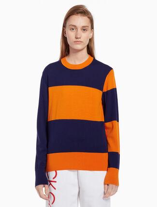CALVIN KLEIN Color block pullover sweater