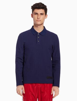 CALVIN KLEIN Long sleeve polo shirt wiht logo patch