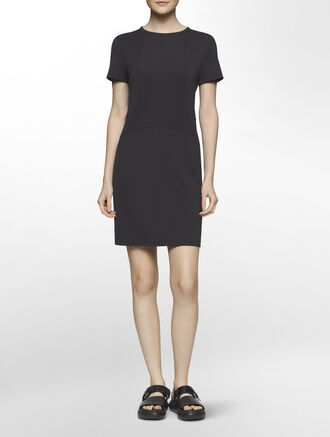 CALVIN KLEIN HIGH TWIST PONTE SHORT SLEEVES SEAMED DRESS