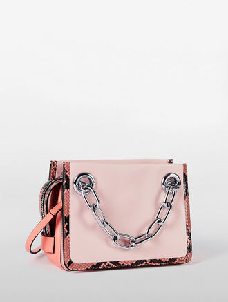 CALVIN KLEIN FLARED SMALL SATCHEL WITH CHAIN AND COLORBLOCK