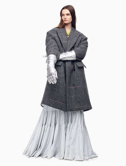 CALVIN KLEIN OVERSIZED DOUBLE-BREASTED COAT IN GRAY TWEED