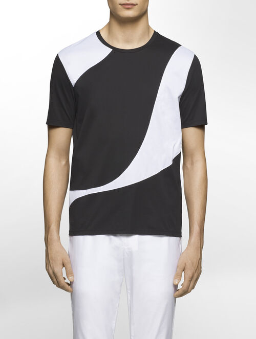 CALVIN KLEIN CERAMIC INTERLOCK SHORT SLEEVES TOP WITH MESH - WAVE( D-EASY FIT )