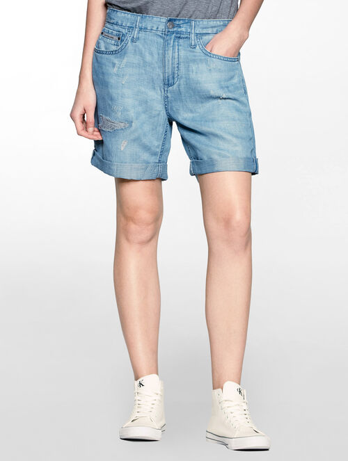 CALVIN KLEIN LYOCELL LINEN BOY FRIEND SHORT