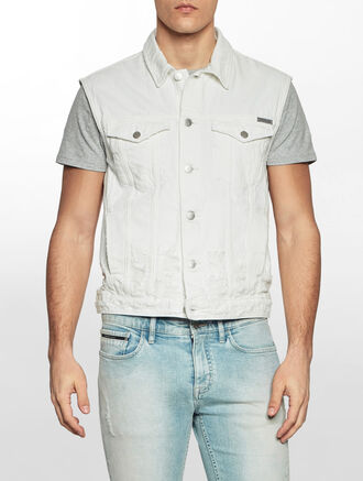 CALVIN KLEIN WHITE DESTRUCTED DENIM VEST