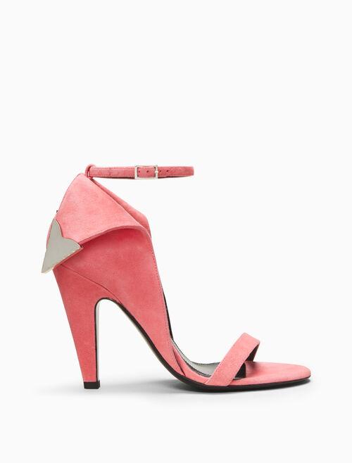 CALVIN KLEIN high heeled deco sandal in suede