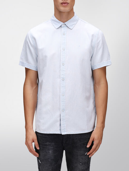 CALVIN KLEIN BRIGHT WHITE CHMBRY SHIRT