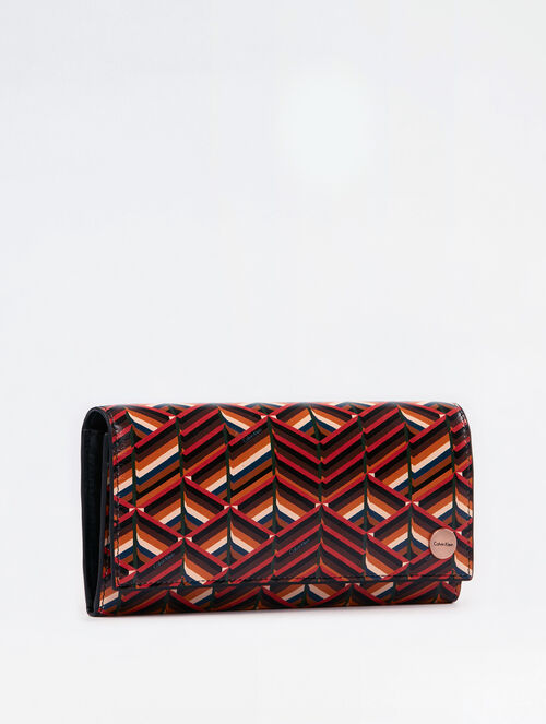 CALVIN KLEIN CITY GRID STACKED PRINT LONG FOLD WALLET
