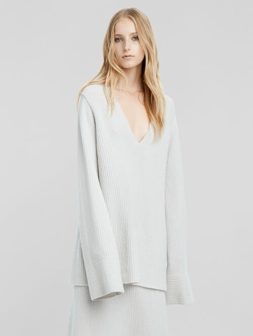 CALVIN KLEIN CASHMERE BOUCLE FLARED SLEEVE SWEATER
