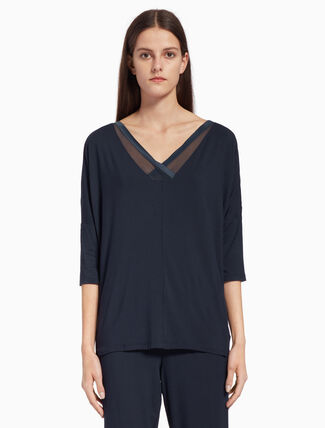 CALVIN KLEIN SCULPTED V-NECK TOP
