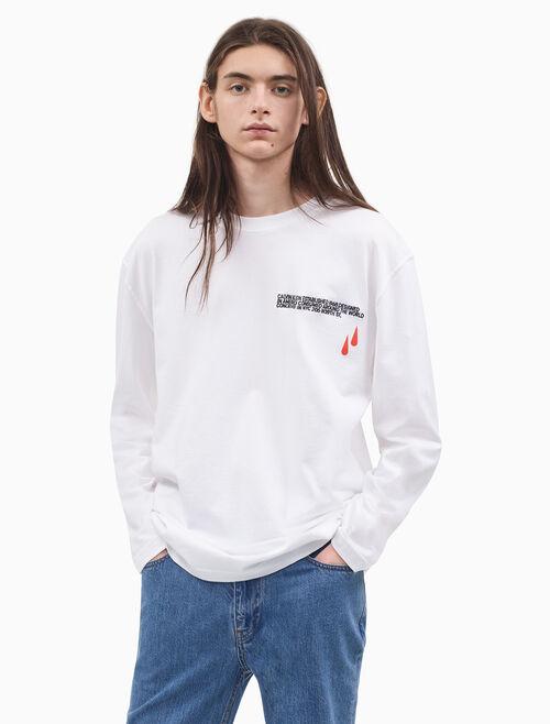 CALVIN KLEIN BLOOD DROP 프린트와 자수 로고 긴소매 셔츠