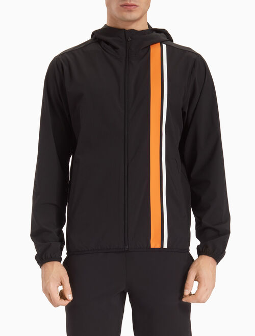 CALVIN KLEIN STRIPED WIND JACKET WITH HOOD