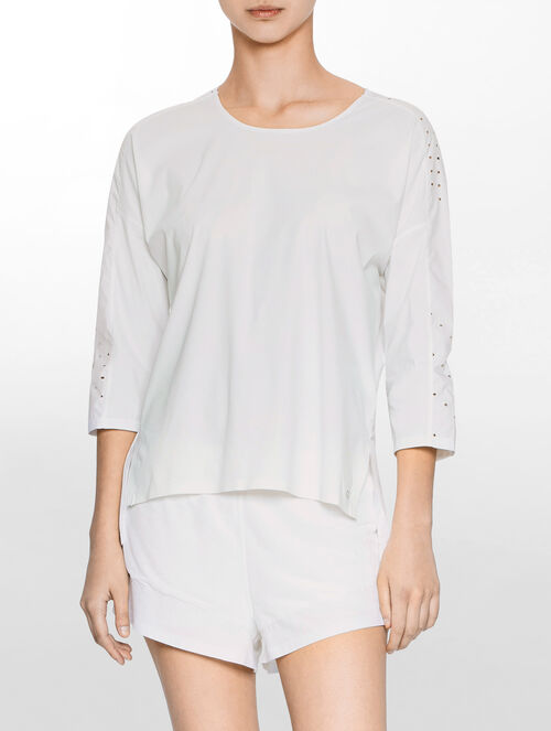 CALVIN KLEIN PERFORATED CROP TEE
