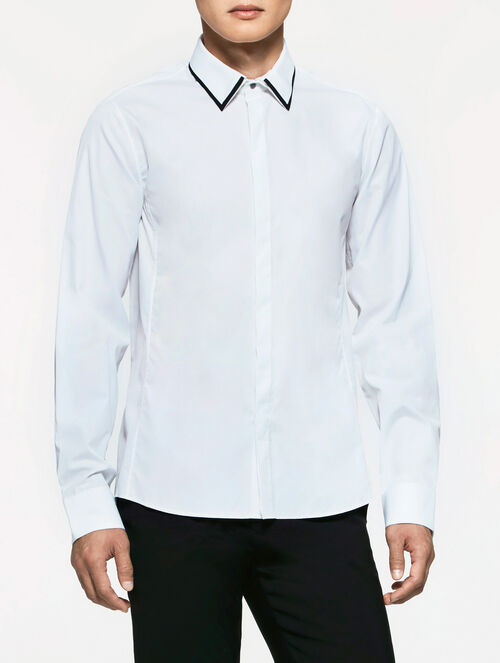 CALVIN KLEIN REFINED POPLIN LONGSLEEVES SHIRT WITH DETACHABLE COLLAR