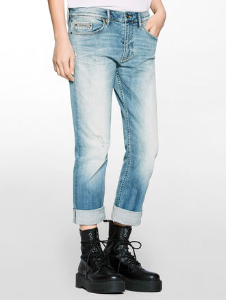 CALVIN KLEIN SLIM BOYFRIEND FIT SELVEDGE DENIM JEANS
