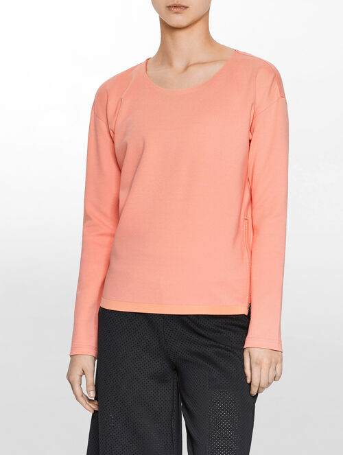 CALVIN KLEIN TWO TONE BONDED SWEATSHIRT WITH SIDE ZIP