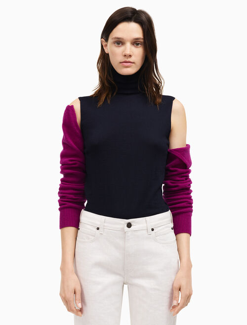CALVIN KLEIN detachable sleeve high neck top