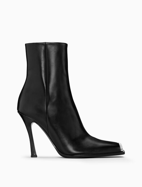 CALVIN KLEIN HIGH-HEELED BOOT IN CALF LEATHER WITH 205W39NYC SILVER TOE PLATE