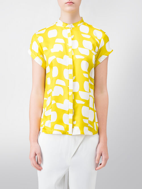 CALVIN KLEIN MULTI WAVEY DOT SILK PRINTED EASY TOP