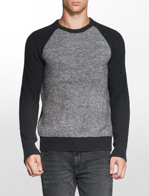 CALVIN KLEIN COLOR BLOCK MIX MEDIA SWEATER