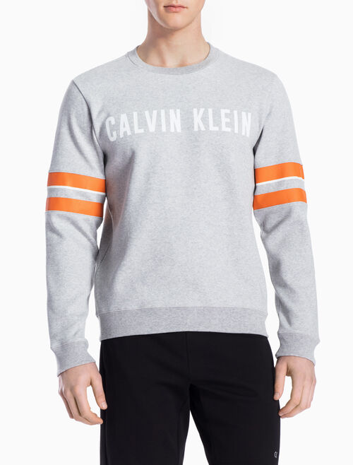 CALVIN KLEIN LOGO PULLOVER WITH SLEEVE STRIPES