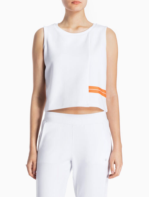 CALVIN KLEIN BOXY CROPPED TANK TOP WITH STRIPES