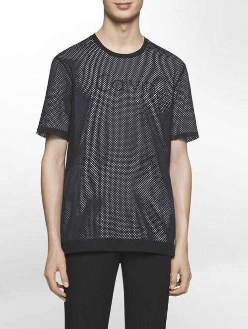CALVIN KLEIN ATHLETIC MESH OVERLAY SHORT SLEEVES LOGO TOP( D-EASY FIT )
