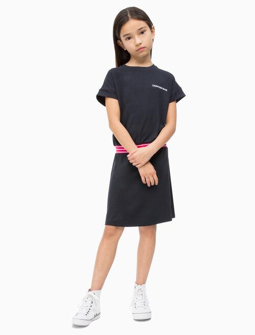 CALVIN KLEIN 여아용 신축성 있는 웨이스트밴드 드레스