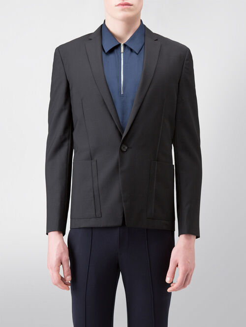 CALVIN KLEIN REFINED WOOL CASHMERE BLAZER WITH PONTE COMBO( JAMESON FIT )