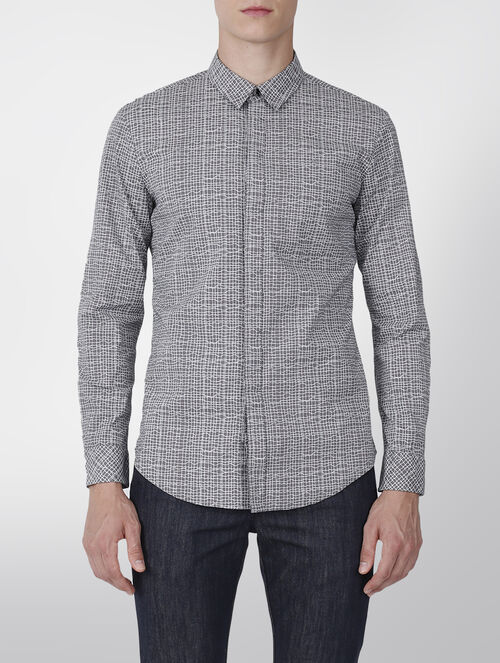 CALVIN KLEIN PRINTED COTTON  STRETCH SHIRT