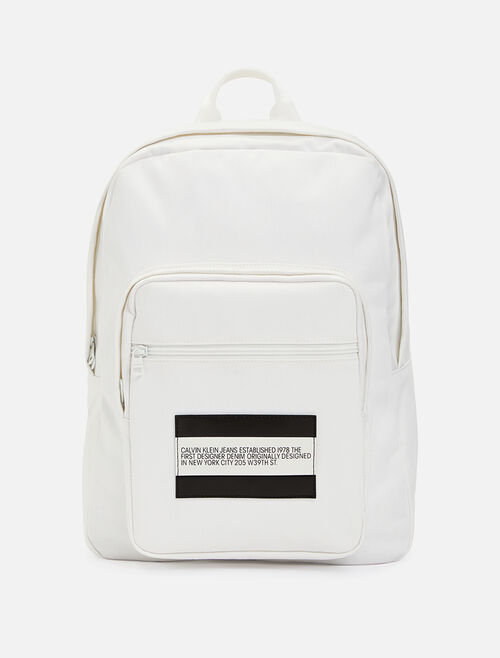 CALVIN KLEIN Est 1978 Patch White Denim Backpack