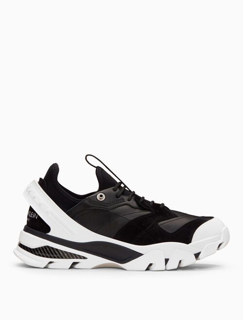 CALVIN KLEIN lace-up athletic sneaker with nappa leather + suede