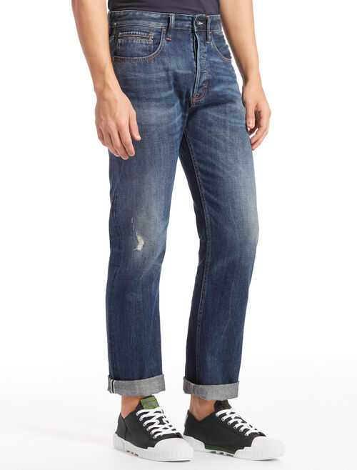 CALVIN KLEIN PHOENIX BLUE HIGH STRAIGHT SELVEDGE JEANS
