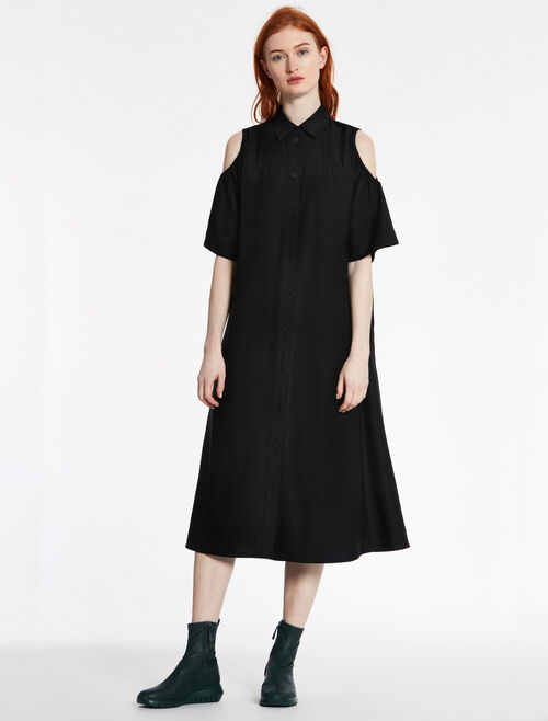 CALVIN KLEIN WOOL CUPRO TWILL CUT-OUT LONG DRESS