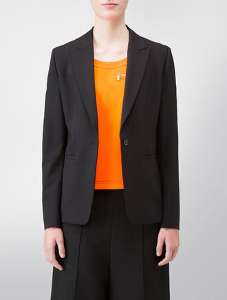 CALVIN KLEIN TROPICAL WOOL LONG BASIC JACKET - FULLY LINED