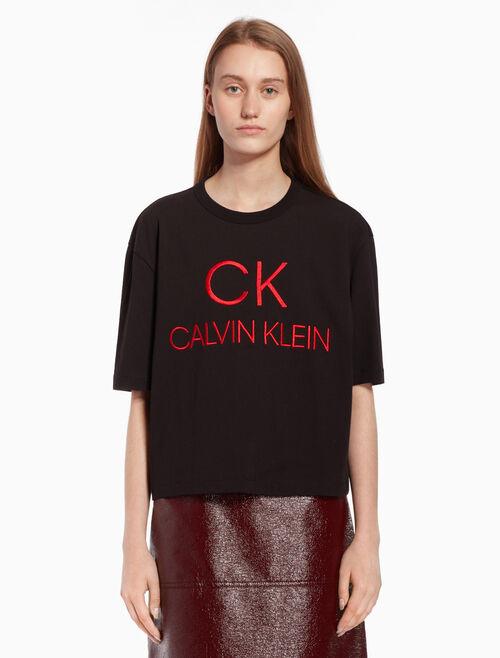 CALVIN KLEIN Logo knit short sleeve top